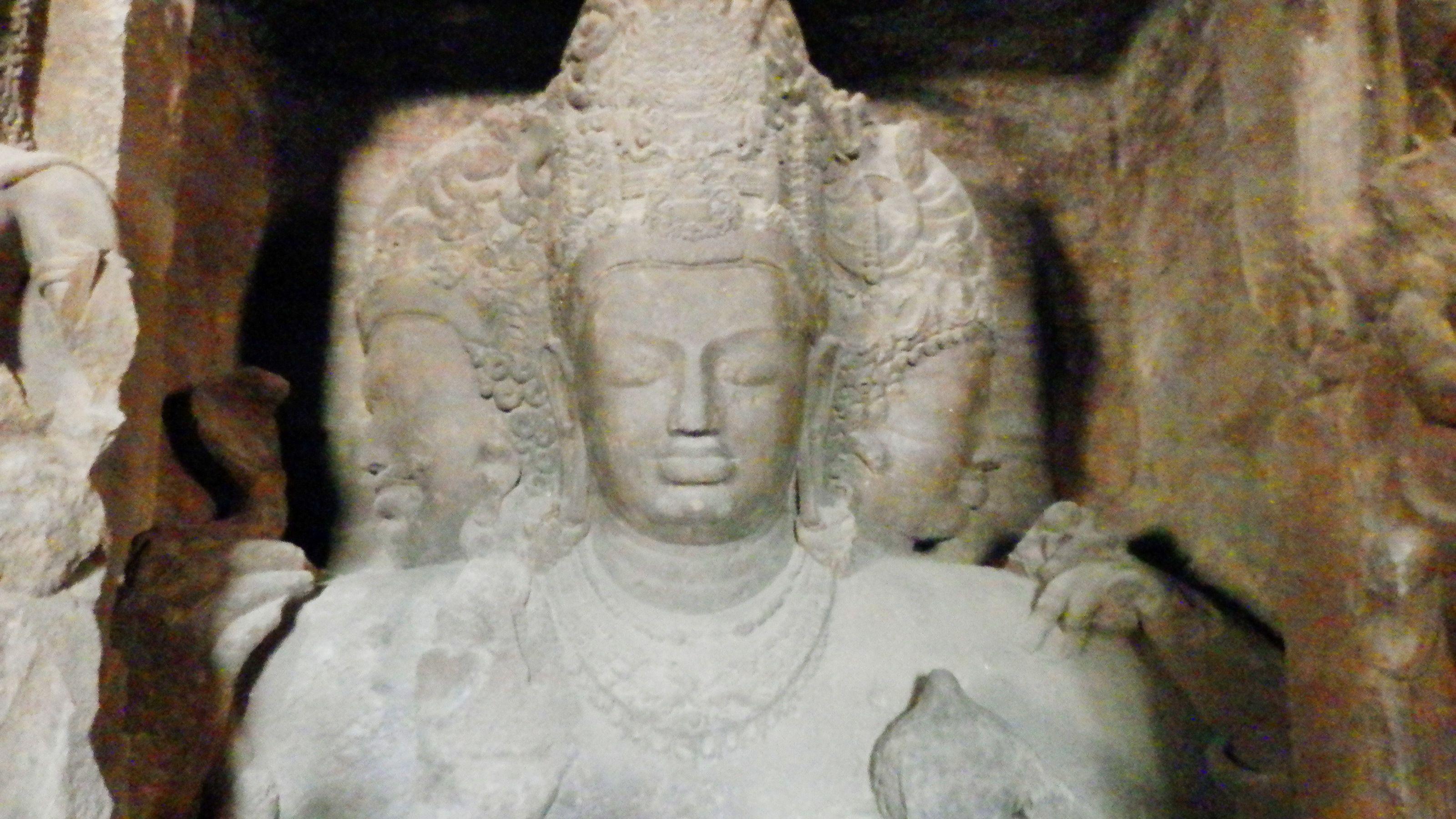 a sculpture at the Elephanta Caves