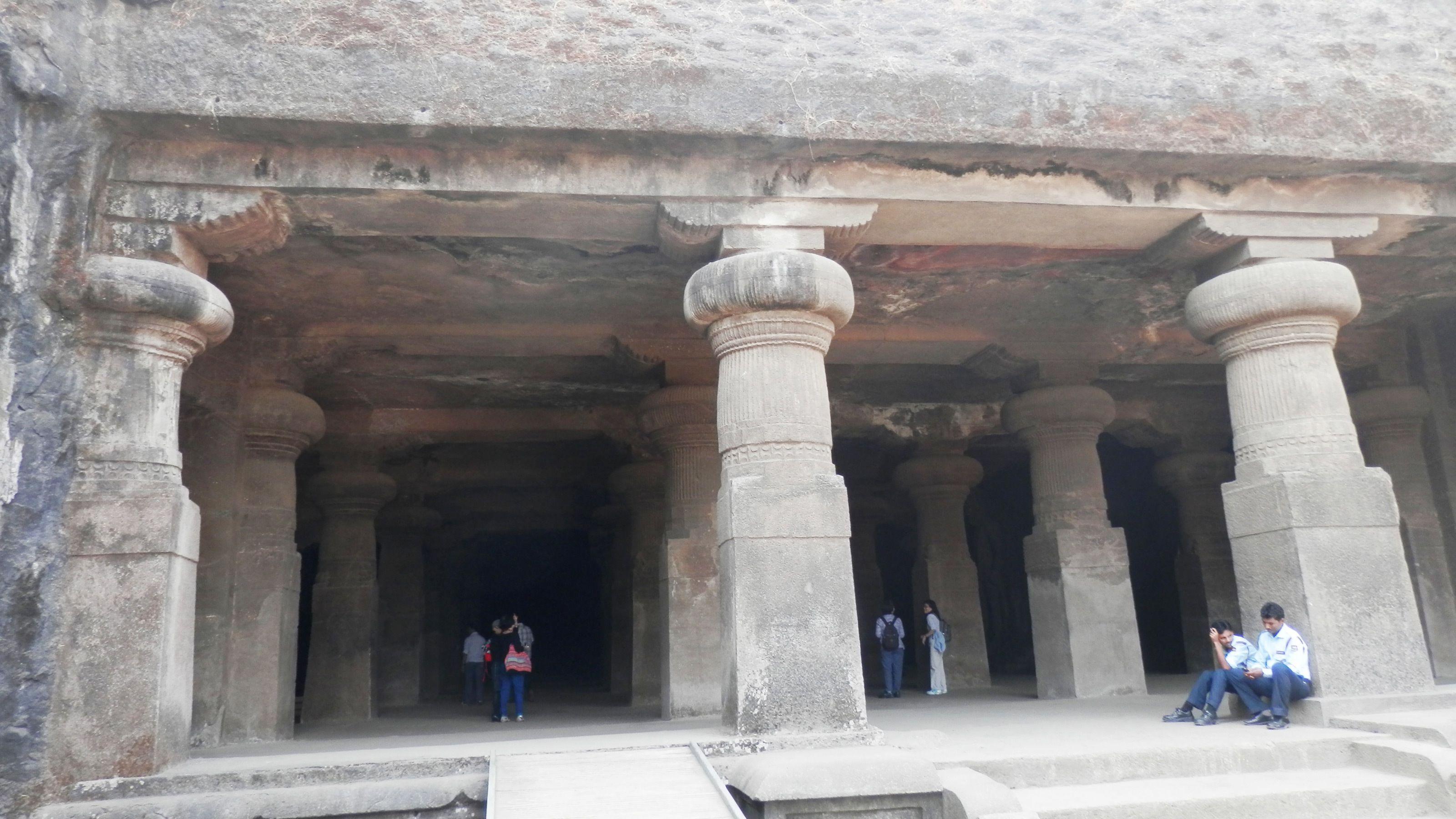 Columns at the Elephanta Caves near mumbai harbor