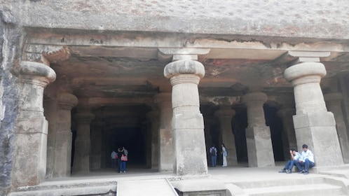 Columns at the Elephanta Caves near mumbai harbor