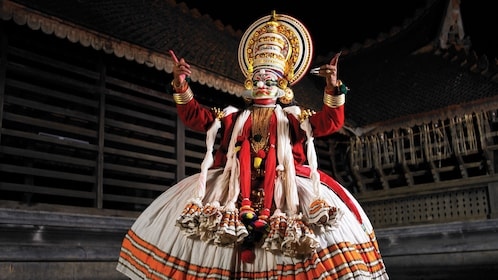Man performing during the Kathakali Dance Show in Kochi