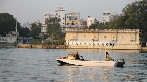boat with city view in India