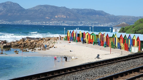Colorful beach houses along the train track in South Africa