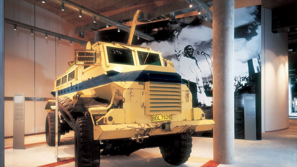 Show item 1 of 10. ATV vehicle is part of an exhibit at the Apartheid Museum