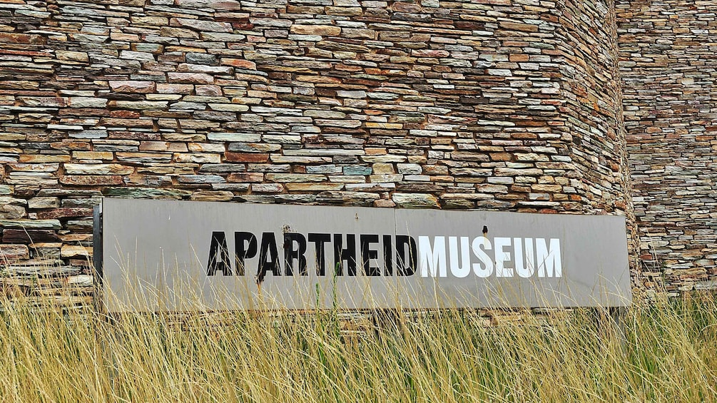 Apartheid Museum sign outside museum