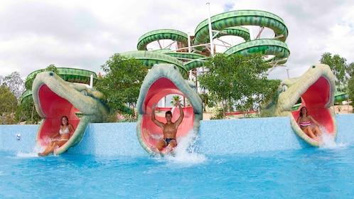 A snake themed water slide at Aqualand in Mallorca