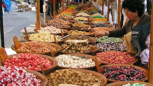 A selection of local sweets at a market in Mallorca