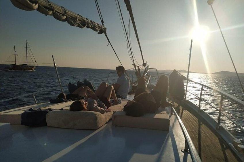 Mykonos Sail Cruise to Delos&Rhenia, BBQ&Drinks, optional Delos Tour & Transfer