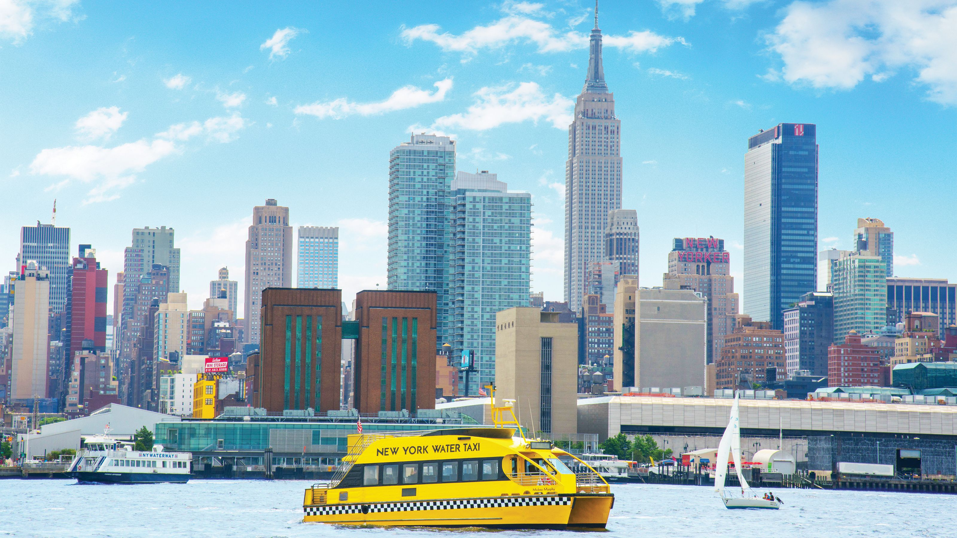 New York Water Taxi with the city in the background