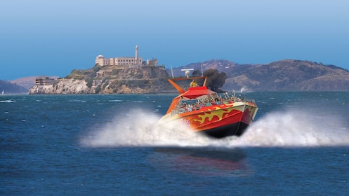 Rocket Boat with Alcatraz Island in the background in San Francisco