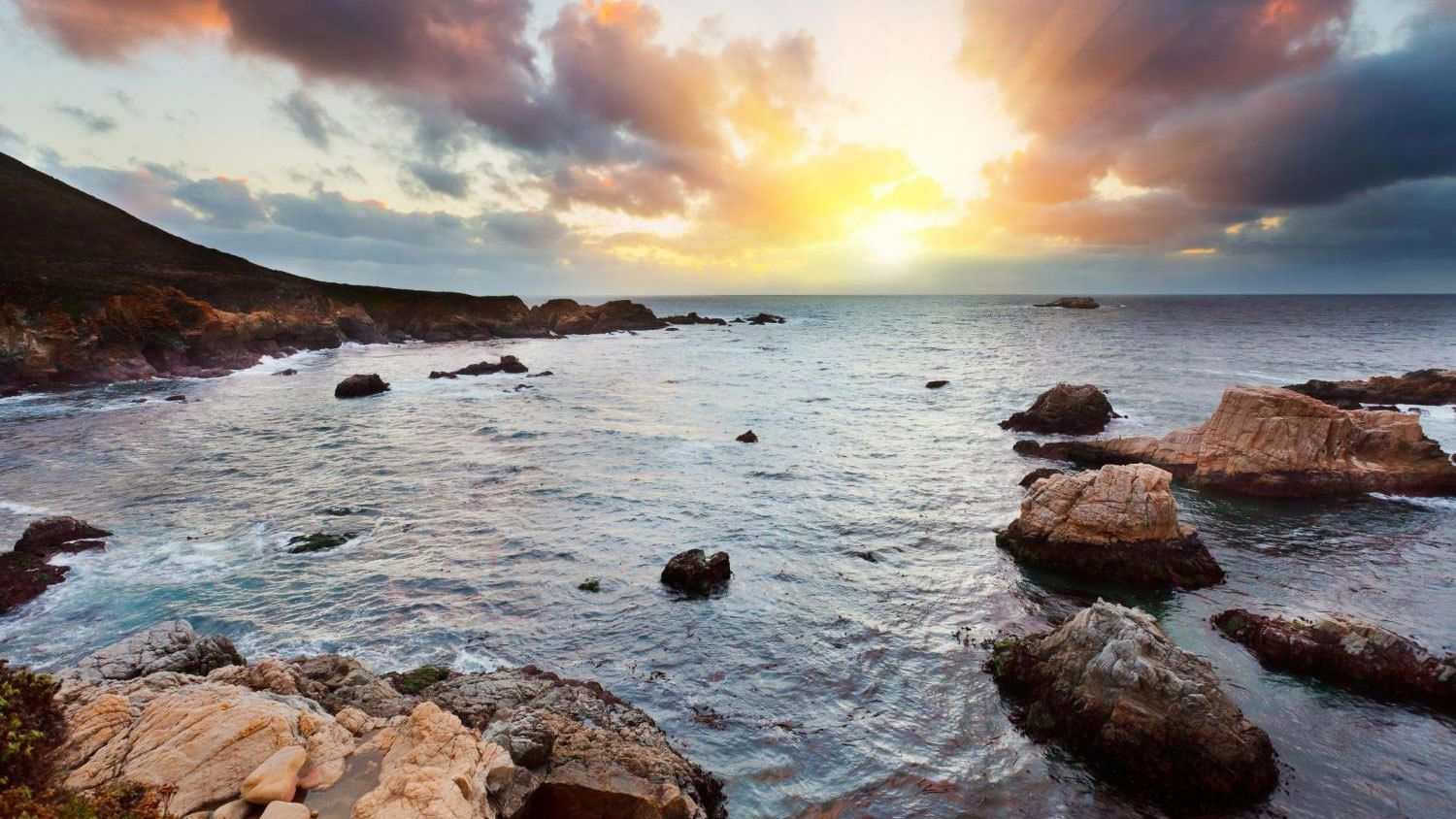 Rocky coast and sunset in Carmel