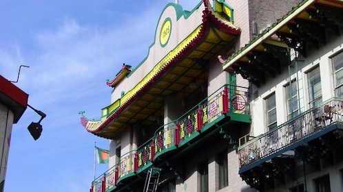 Colorful balcony in Chinatown San Francisco