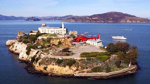 Helicopter over Alcatraz in San Francisco