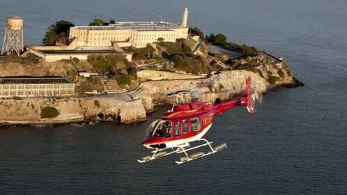 Helicopter over Alcatraz in San Francisco