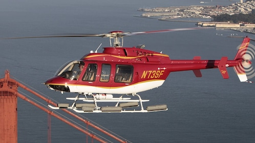 Helicopter over the Golden Gate Bridge in San Francisco