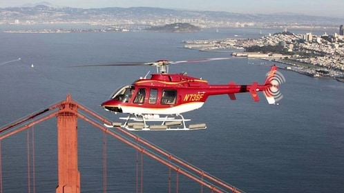 Helicopter near the Golden Gate Bridge in San Francisco