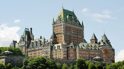 wide view of Chateau Frontenac in Quebec City
