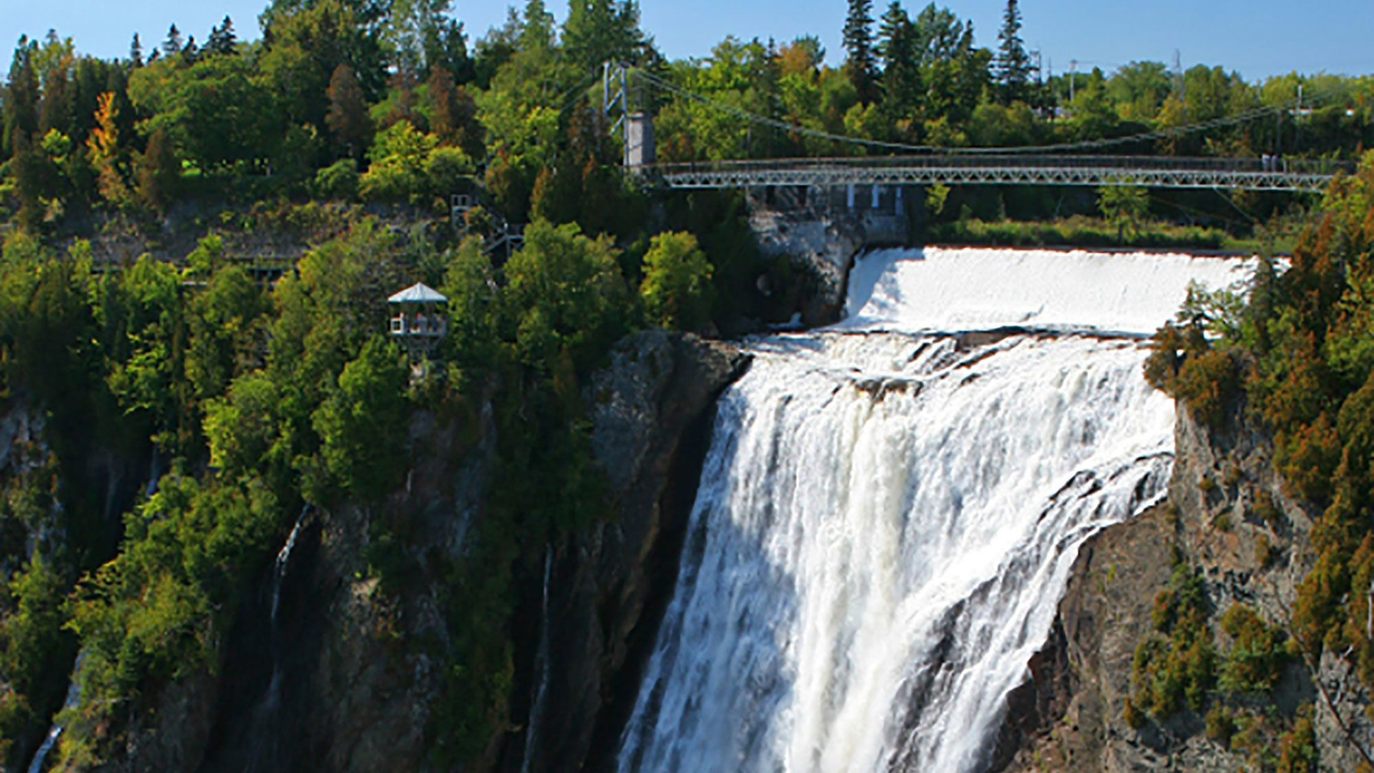 Panoramic view Montmorency Falls outside of Quebec City