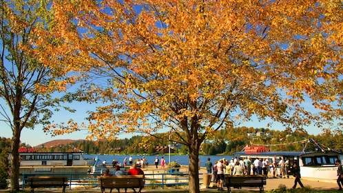 Boats docked on the shore of Lac des Sables outside Montreal Canada on a clear blue fall day