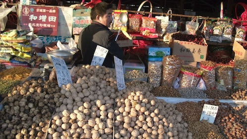 Various nuts being sold at the market in Beijing