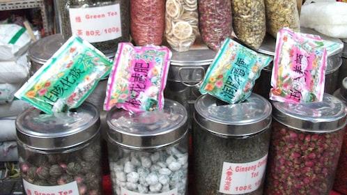 Herbal tea leaves at the street market in Beijing