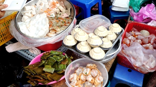 Tasty street food on display on a food tour of Ho Chi Minh City