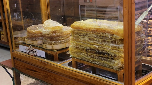 Honeycomb on display at a shop in Istanbul