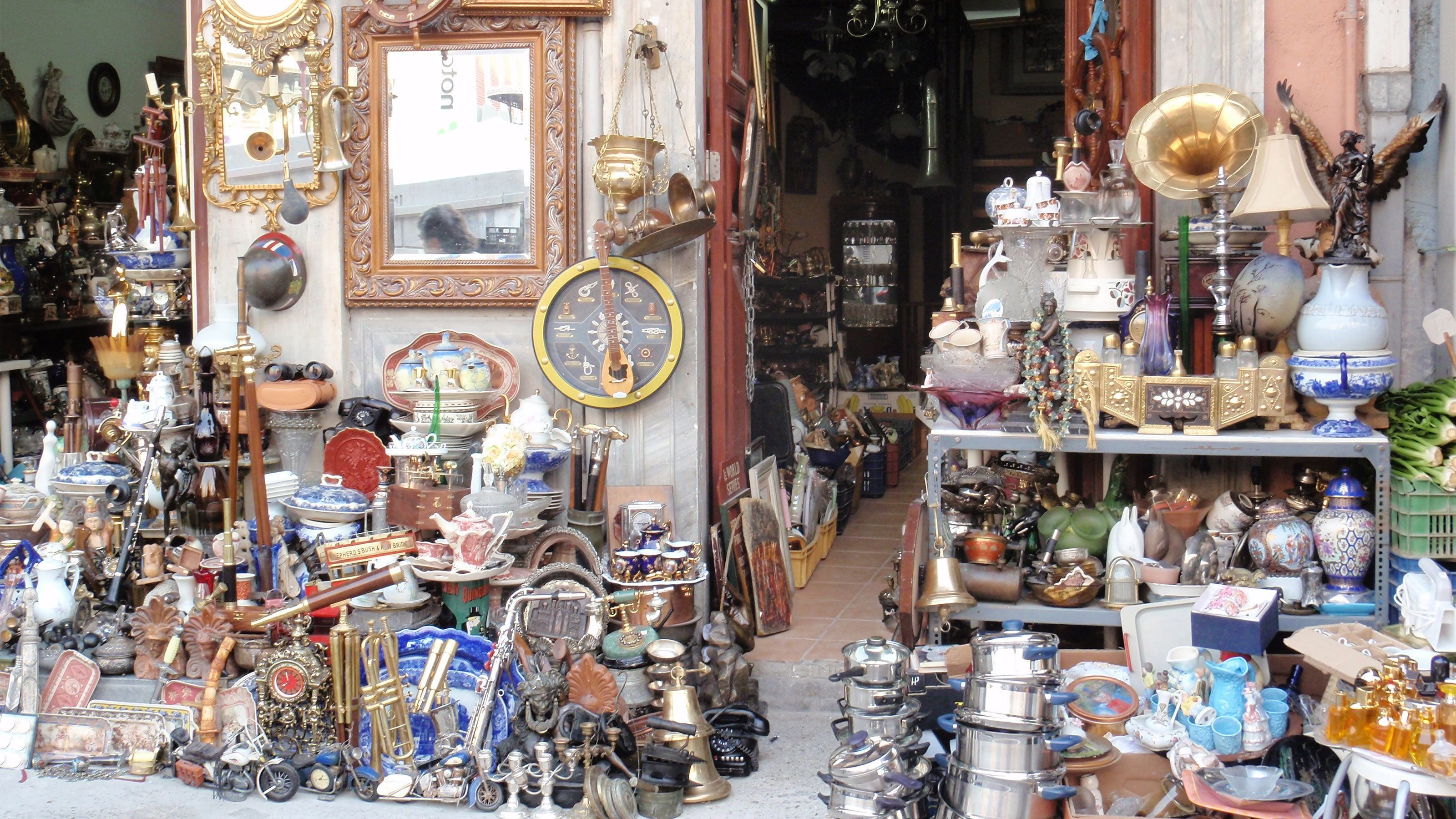 Antiques for sale at a shop in Athens