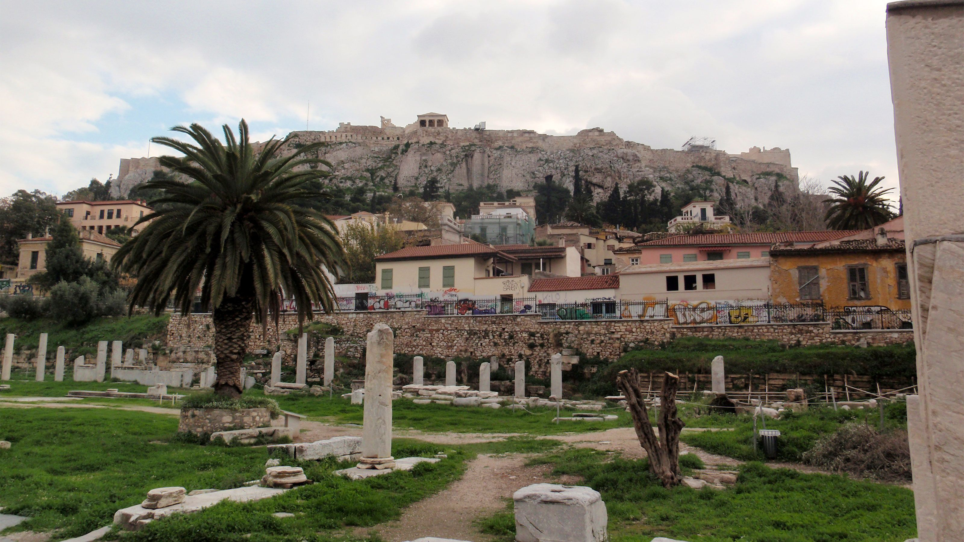 Ruins and homes near the Plaka District in Athens