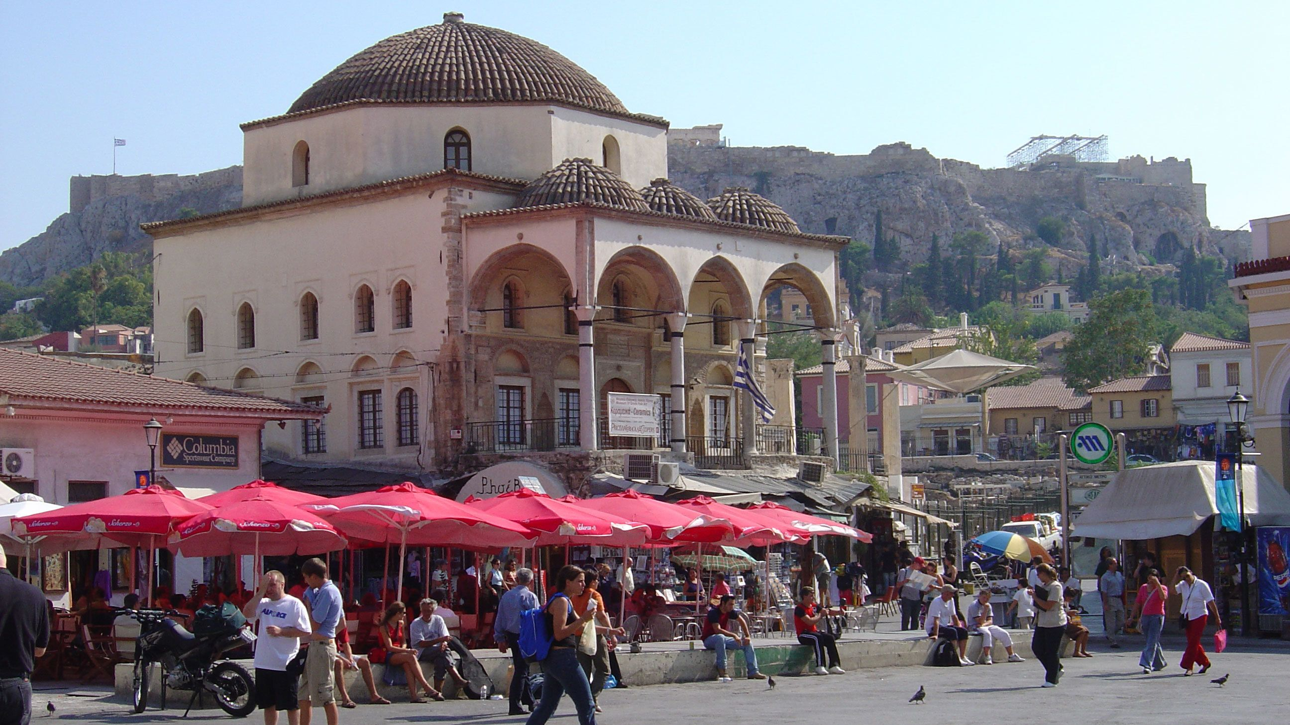 People shopping in the Monastiraki flea market district in Athens