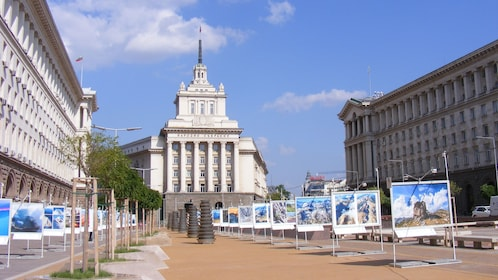 photos of natural landscapes displayed outside in Sofia