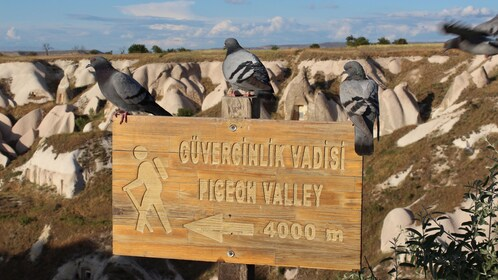 Hiking sign for Pigeon Valley in Cappadocia