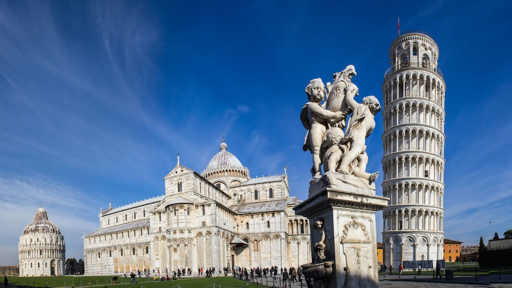 Show item 1 of 5. Pisa Square of Miracles with The Leaning Tower, Cathedral and Statue of Angels in Florence