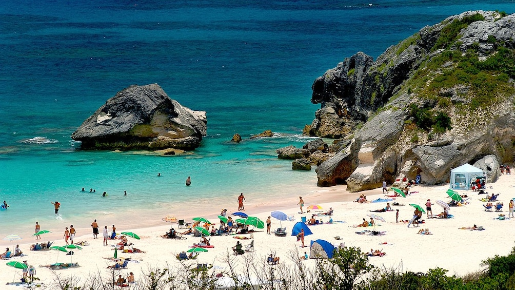 Show item 4 of 4. Serene view of the Bermuda West End beach in Bermuda on a clear sunny day