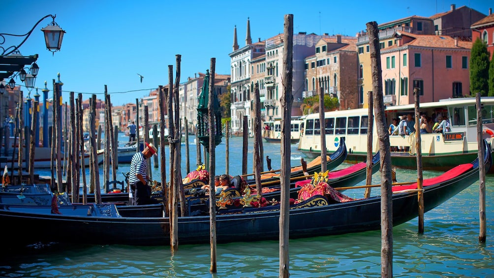 Show item 6 of 6. Gondolas parked along a transit terminal awaiting passengers in Venice.