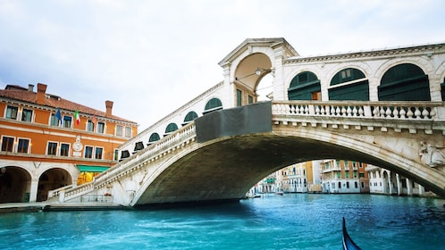 Closeup photo of the Rialto Bridge in Venice, Italy.