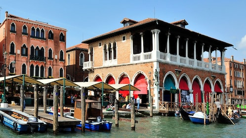 A transit port for gondolas to pick up passengers in Venice.