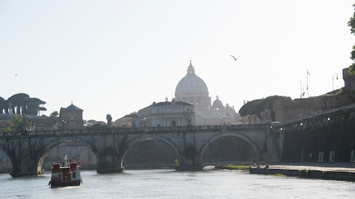 An afar view of a boat cruising down the a223268 River Tiber in Italy