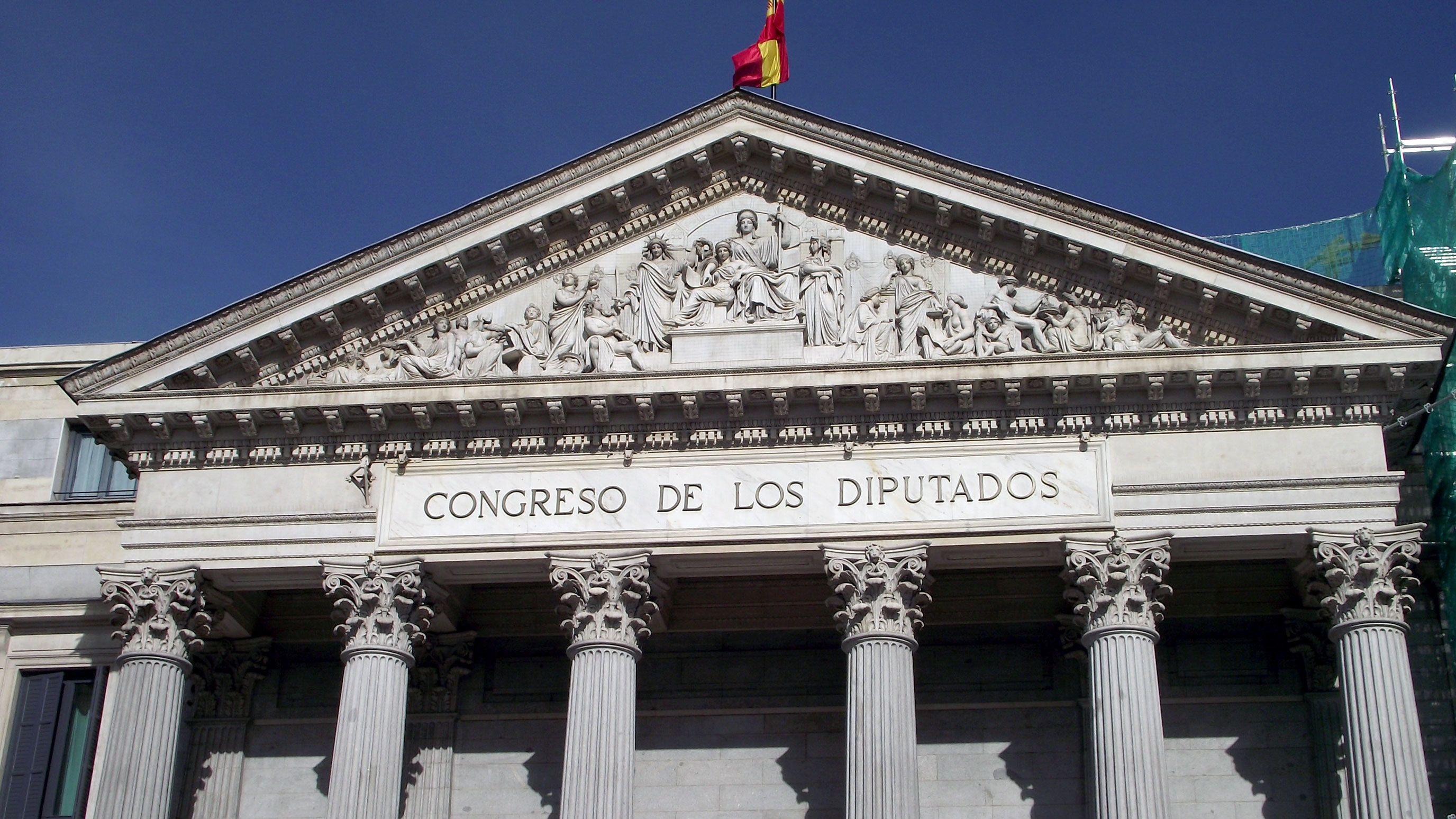 Close up view of the Congreso de los Diputados in Madrid