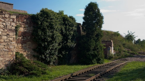 Railroad and outer walls of Terezín Concentration Camp in Prague