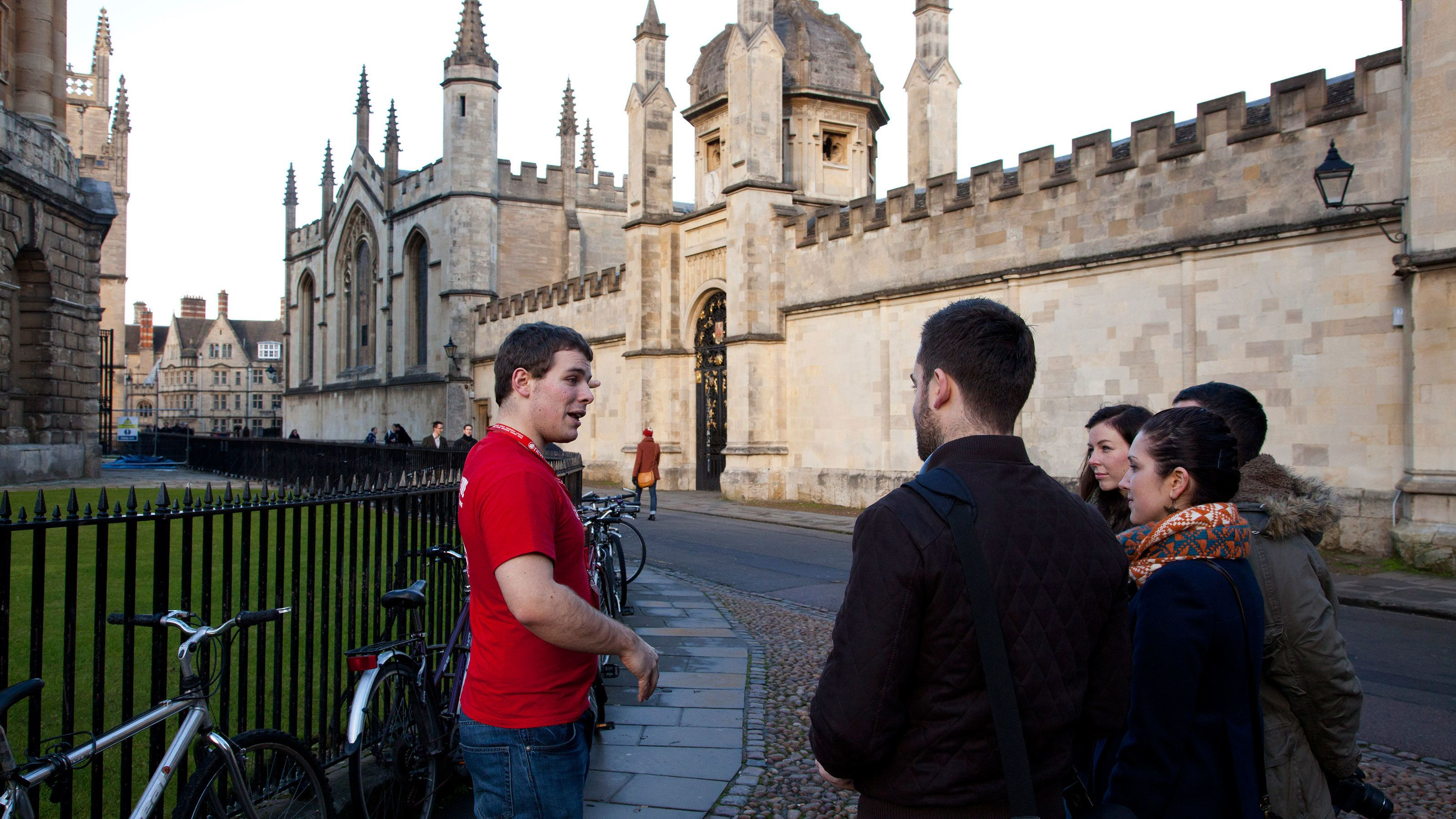 tour guide showing people around Castle in Oxford