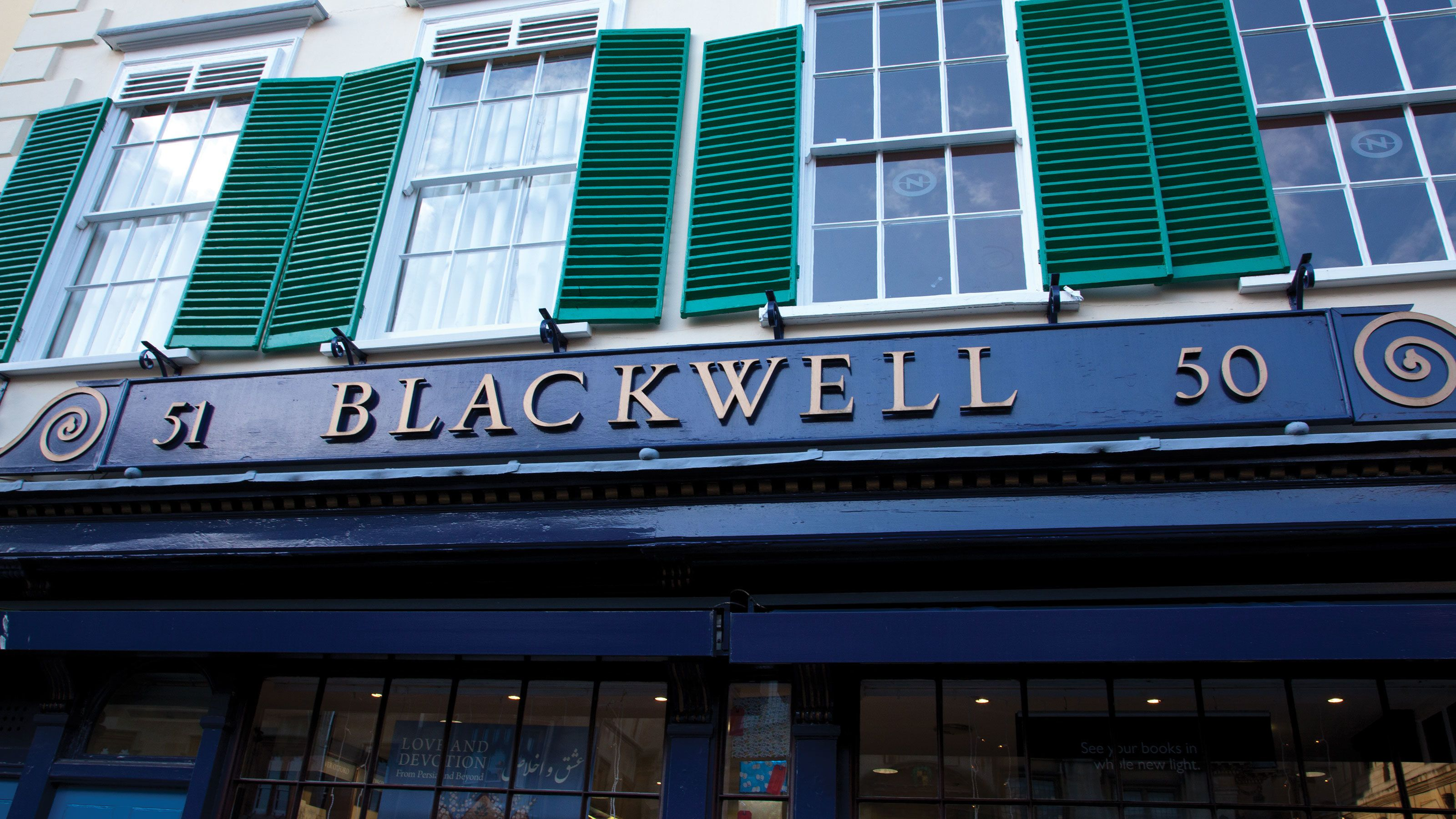 store front sign for Blackwell in London
