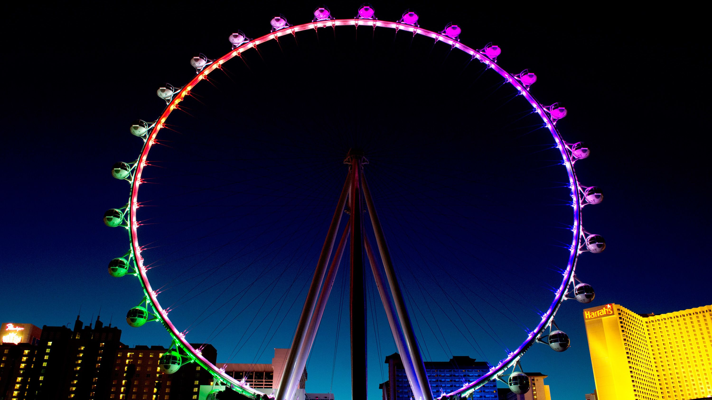 Nighttime view of The High Roller Observation Wheel in Las Vegas