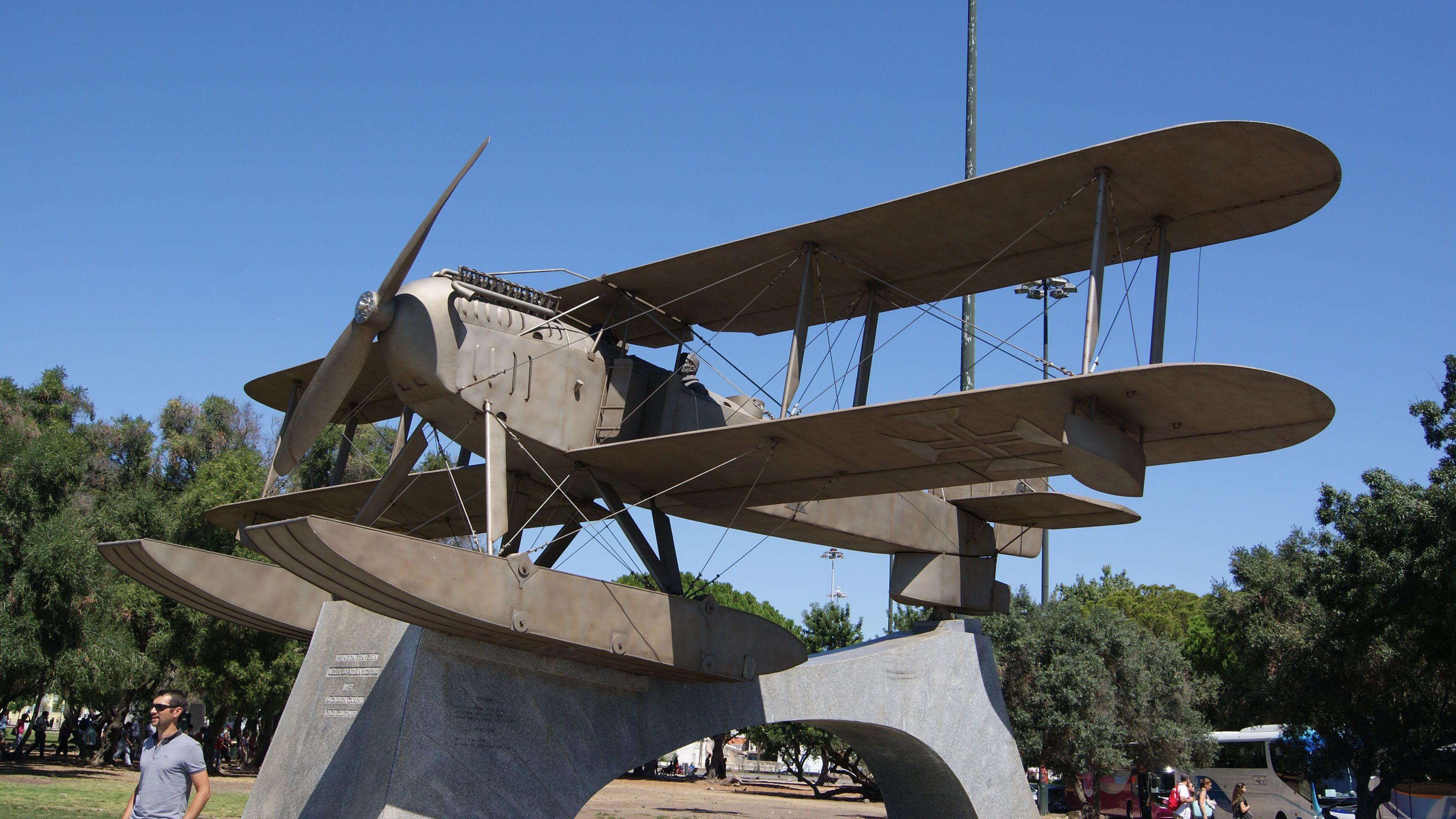 metal plane sculpture in Portugal