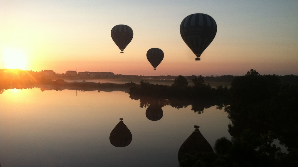 Foto 1 von 8 laden Hot air balloons over a lake at sunset in Orlando.