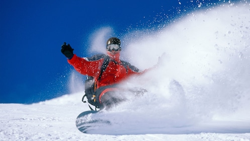 Man snowboarding in Breckenridge