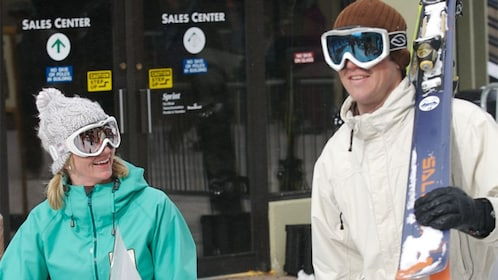 Couple with rented skis in Winter Park