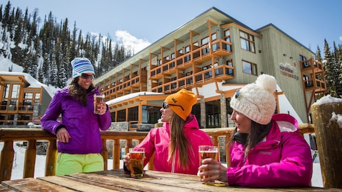 Skiers enjoy a few drinks before tackling the slopes