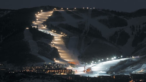 Slopes lit up at night in Park City