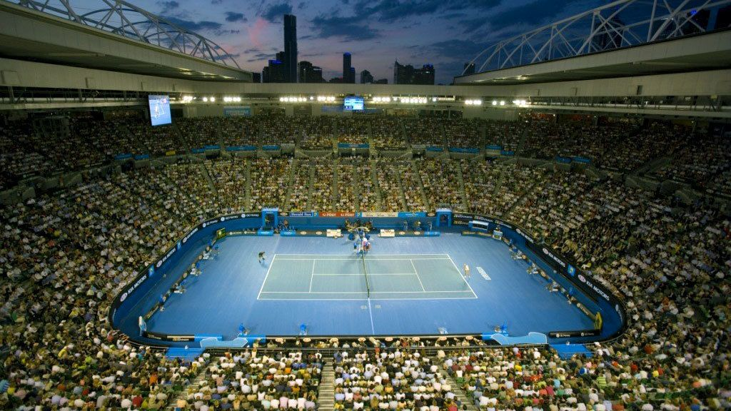 Watching a tennis match at the stadium in Melbourne
