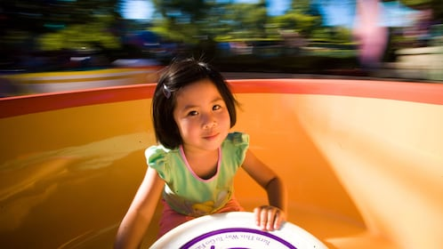 Little girl enjoying her time at the Disneysea Tour in Tokyo